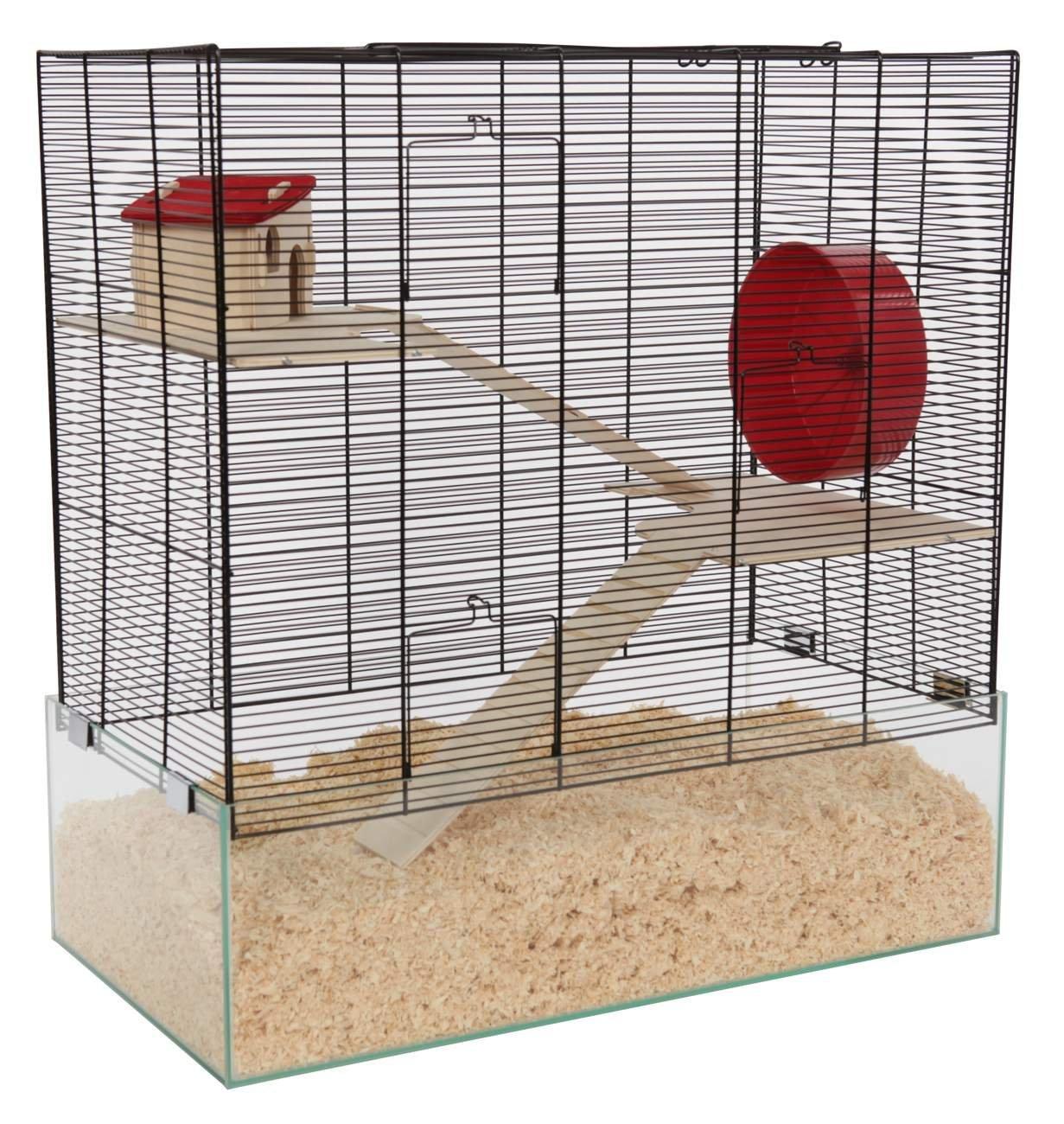 Hamsterkäfig Vergleich Platz 6 Gitterkäfig mit Glasboden