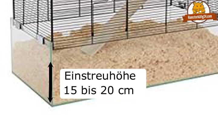 Hamsterkäfig artgerecht Einstreuhöhe