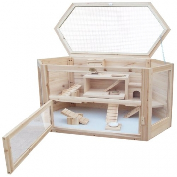Hamsterhaus Holz aufklappbarer Deckel