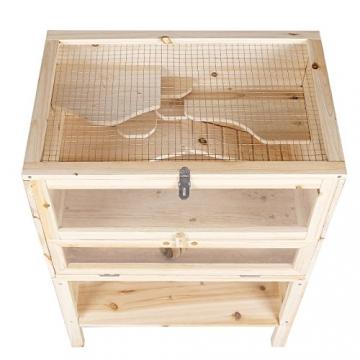 Hamsterkäfig aus Holz mit Drahtdach