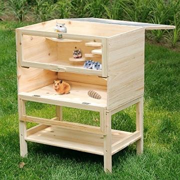 Hamsterkäfig aus Holz zum Aufklappen