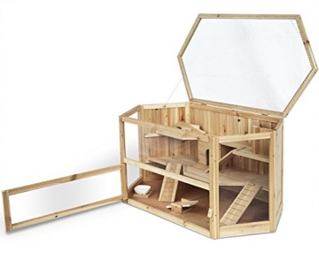 Hamsterkäfig aus Massivholz mit aufklappbaren Deckel