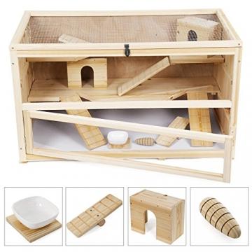 Hamsterkäfig Holz braun mit Accessoires