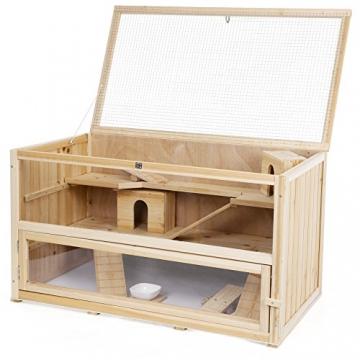 Hamsterkäfig Holz braun und aufklappbaren Deckel