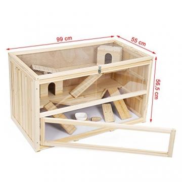 Hamsterkäfig Holz braun zum Öffnen vorn
