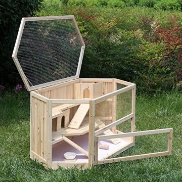 Hamsterkäfig Holz XXL mit aufklpappbaren Deckel