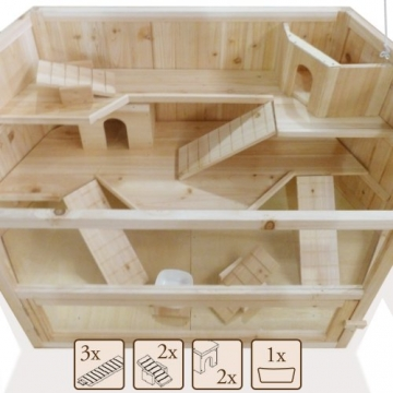 Hamsterkäfig sechseckig XXL mit 2 Häusern