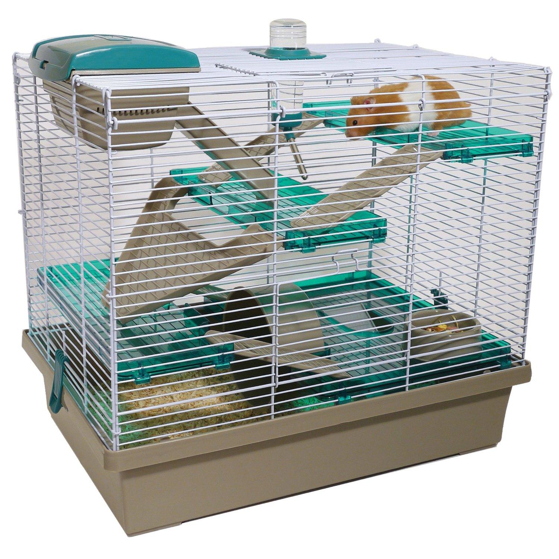 Grüner Hamsterkäfig mit Gitter