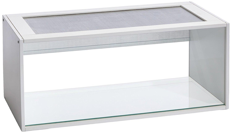 >Hamstergehege aus Glas und weißem Holz