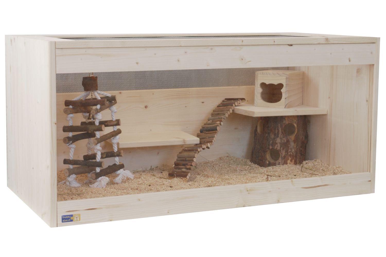 Hamsterkäfig aus Glas mit Naturholz