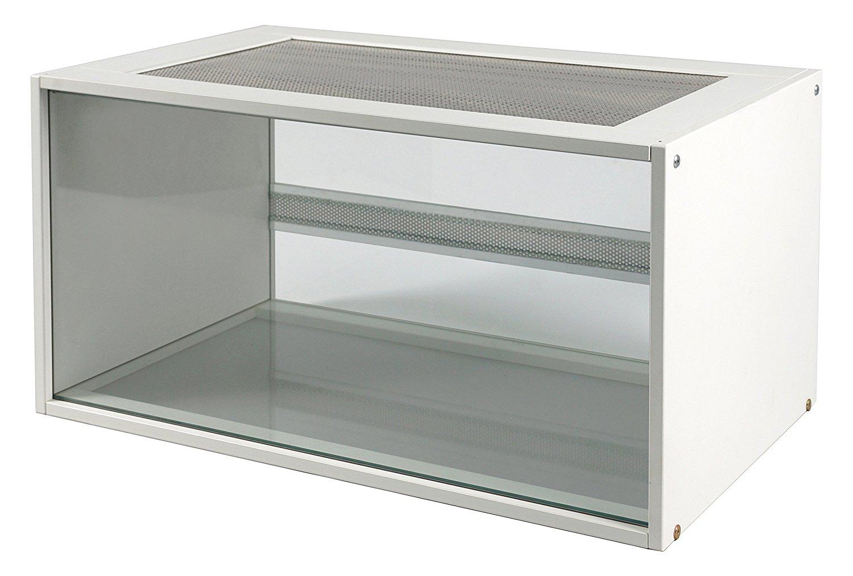 Hamsterkäfig aus Glas mit weißen Holz