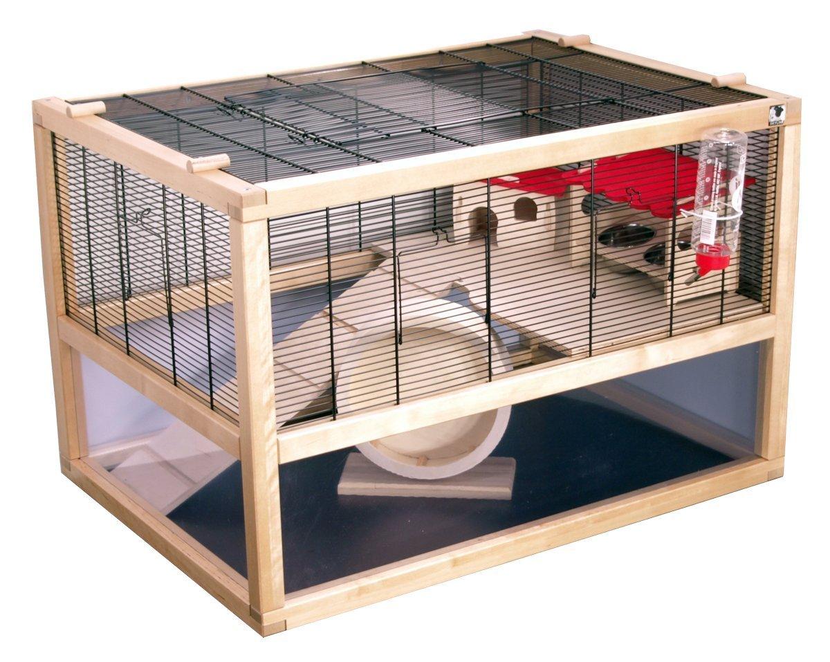 Hamsterkäfig aus Glas und Gitter Komplettset