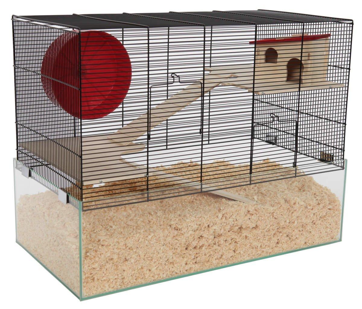 Hamsterkäfig mit Gitter und Glasboden